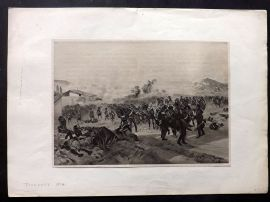 Henri Dupray 1902 Antique Military Print. Battle of Toulouse 1814